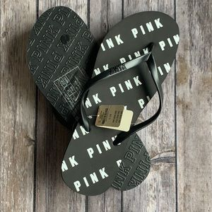 VS PINK Logo Black & White Flip Flops size L/40-41